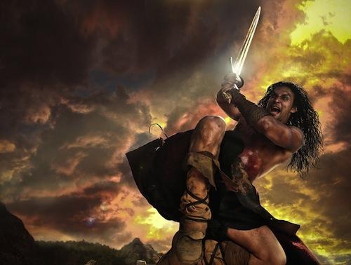 Conan amint épp harcol (vagy humorizál?)