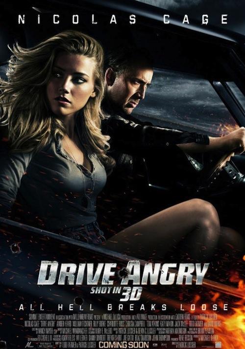 A Drive Angry posztere és Amber Heard lába