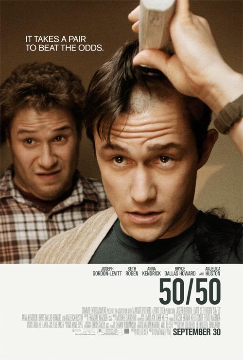a 50/50 poszterén borotválnak