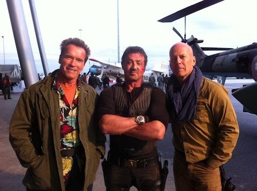 Expendables 2 forgatása: Arnold, Bruce, Sly