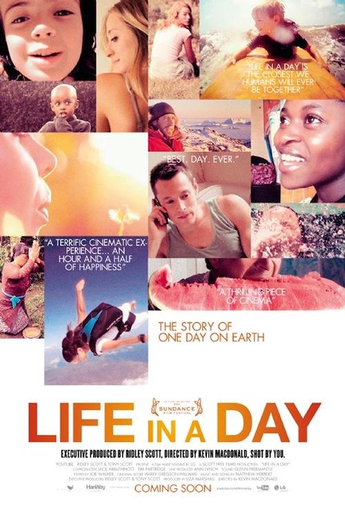 a life in a day poszterén képkockák a filmből