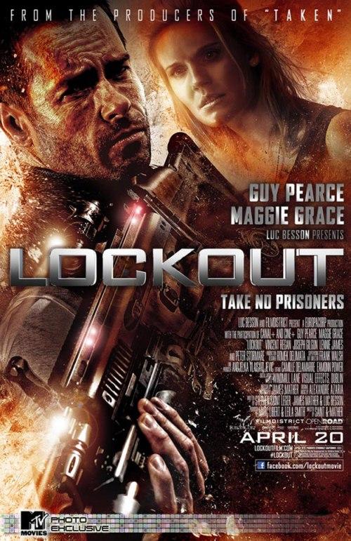 A Lockout főszereplői a sárga poszteren