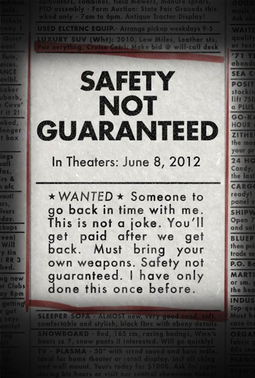 Safety Not Guaranteed posztere
