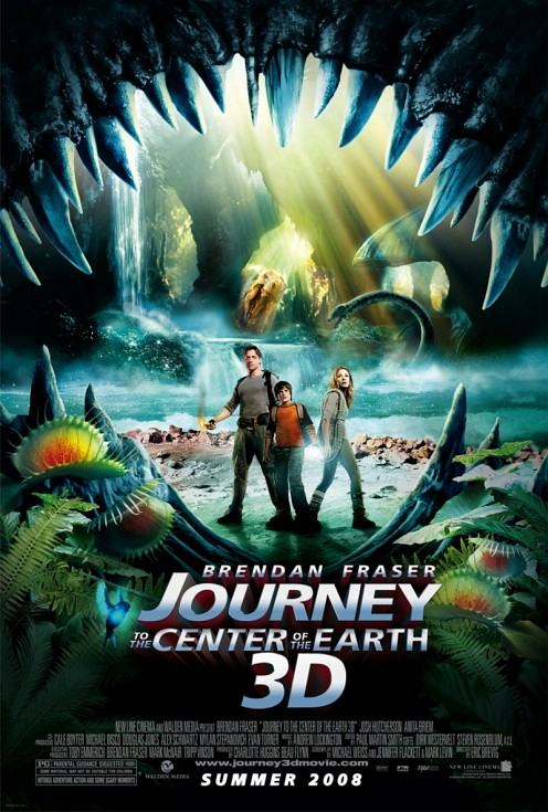 Journey to the center of the earth 3d változatának posztere