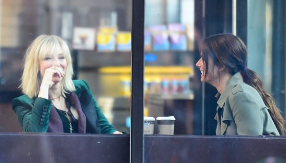 """NEW YORK, NY - OCTOBER 24:  Actresses Cate Blanchett and Sandra Bullock are seen on the set of """"Ocean's Eight"""" on October 24, 2016 in New York City.  (Photo by Raymond Hall/GC Images)"""